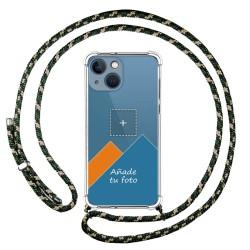 Personaliza tu Funda Colgante Transparente compatible con Iphone 13 Mini (5.4) con Cordon Verde / Dorado Dibujo Personalizada