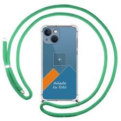 Personaliza tu Funda Colgante Transparente compatible con Iphone 13 Mini (5.4) con Cordon Verde Agua Dibujo Personalizada