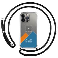 Personaliza tu Funda Colgante Transparente compatible con Iphone 13 Pro (6.1) con Cordon Negro Dibujo Personalizada