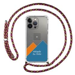 Personaliza tu Funda Colgante Transparente compatible con Iphone 13 Pro (6.1) con Cordon Rosa / Dorado Dibujo Personalizada