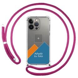Personaliza tu Funda Colgante Transparente compatible con Iphone 13 Pro (6.1) con Cordon Rosa Fucsia Dibujo Personalizada