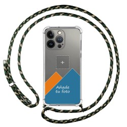 Personaliza tu Funda Colgante Transparente compatible con Iphone 13 Pro (6.1) con Cordon Verde / Dorado Dibujo Personalizada