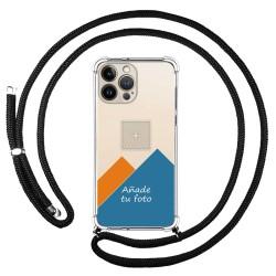 Personaliza tu Funda Colgante Transparente compatible con Iphone 13 Pro Max (6.7) con Cordon Negro Dibujo Personalizada