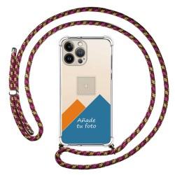 Personaliza tu Funda Colgante Transparente compatible con Iphone 13 Pro Max (6.7) con Cordon Rosa / Dorado Dibujo Personalizada