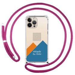 Personaliza tu Funda Colgante Transparente compatible con Iphone 13 Pro Max (6.7) con Cordon Rosa Fucsia Dibujo Personalizada