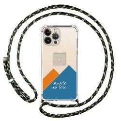 Personaliza tu Funda Colgante Transparente compatible con Iphone 13 Pro Max (6.7) con Cordon Verde / Dorado Dibujo Personalizada