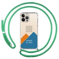 Personaliza tu Funda Colgante Transparente compatible con Iphone 13 Pro Max (6.7) con Cordon Verde Agua Dibujo Personalizada