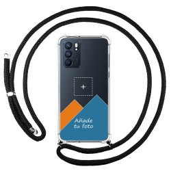 Personaliza tu Funda Colgante Transparente para Oppo Reno 6 5G con Cordon Negro Dibujo Personalizada