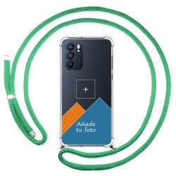 Personaliza tu Funda Colgante Transparente para Oppo Reno 6 5G con Cordon Verde Agua Dibujo Personalizada