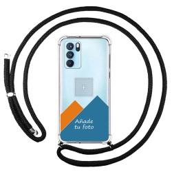 Personaliza tu Funda Colgante Transparente para Oppo Reno 6 Pro 5G con Cordon Negro Dibujo Personalizada