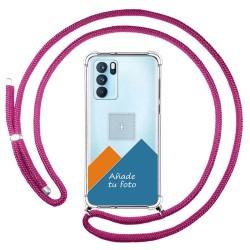 Personaliza tu Funda Colgante Transparente para Oppo Reno 6 Pro 5G con Cordon Rosa Fucsia Dibujo Personalizada