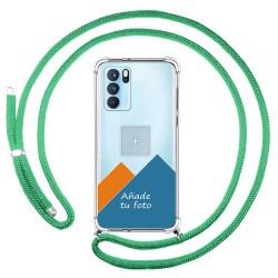 Personaliza tu Funda Colgante Transparente para Oppo Reno 6 Pro 5G con Cordon Verde Agua Dibujo Personalizada
