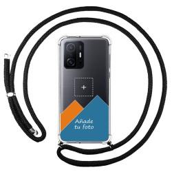 Personaliza tu Funda Colgante Transparente para Xiaomi 11T 5G / 11T Pro 5G con Cordon Negro Dibujo Personalizada