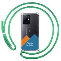Personaliza tu Funda Colgante Transparente para Xiaomi 11T 5G / 11T Pro 5G con Cordon Verde Agua Dibujo Personalizada