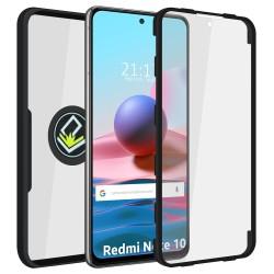 Funda Doble Negra Pc + Tpu Full Body 360 con Anillo para Xiaomi Redmi Note 10 / 10S
