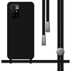 Funda Silicona Líquida con Cordón para Xiaomi Redmi 10 color Negra