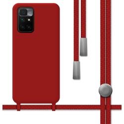 Funda Silicona Líquida con Cordón para Xiaomi Redmi 10 color Roja