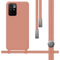 Funda Silicona Líquida con Cordón para Xiaomi Redmi 10 color Rosa