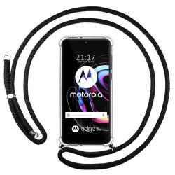 Funda Colgante Transparente para Motorola Edge 20 Pro con Cordon Negro