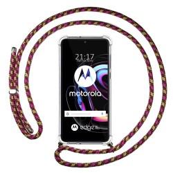 Funda Colgante Transparente para Motorola Edge 20 Pro con Cordon Rosa / Dorado