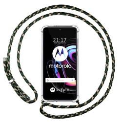 Funda Colgante Transparente para Motorola Edge 20 Pro con Cordon Verde / Dorado