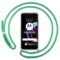 Funda Colgante Transparente para Motorola Edge 20 Pro con Cordon Verde Agua