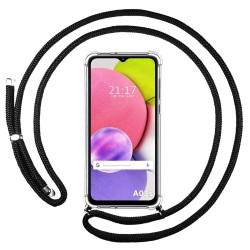 Funda Colgante Transparente para Samsung Galaxy A03s con Cordon Negro
