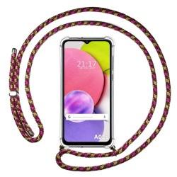 Funda Colgante Transparente para Samsung Galaxy A03s con Cordon Rosa / Dorado
