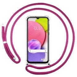 Funda Colgante Transparente para Samsung Galaxy A03s con Cordon Rosa Fucsia