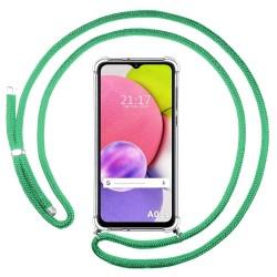 Funda Colgante Transparente para Samsung Galaxy A03s con Cordon Verde Agua