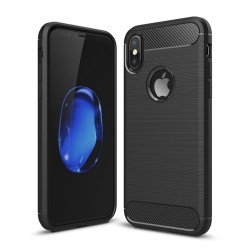 Funda Gel Tpu Tipo Carbon Negra para Iphone X / Xs