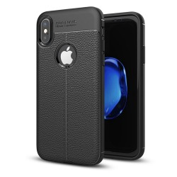 Funda Gel Tpu Tipo Piel Negra para Iphone X / Xs