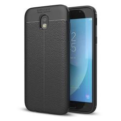 Funda Gel Tpu Tipo Piel Negra para Samsung Galaxy J3 (2017)