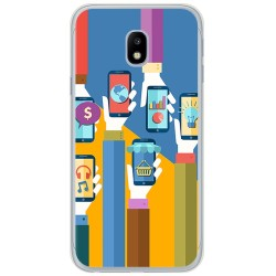 Funda Gel Tpu para Samsung Galaxy J3 (2017) Diseño Apps Dibujos
