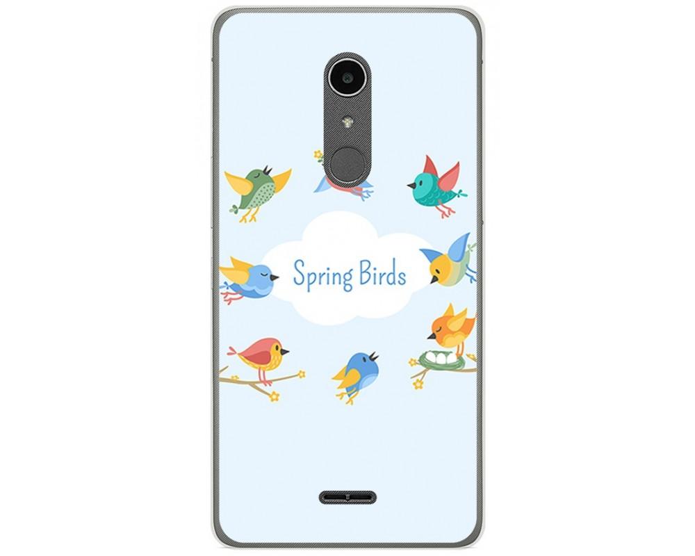 Funda Gel Tpu para Alcatel A3 XL Diseño Spring Birds Dibujos