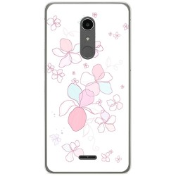 Funda Gel Tpu para Alcatel A3 XL Diseño Flores Minimal Dibujos