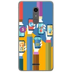 Funda Gel Tpu para Alcatel A3 XL Diseño Apps Dibujos