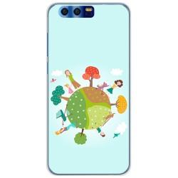 Funda Gel Tpu para Huawei Honor 9 Diseño Familia Dibujos