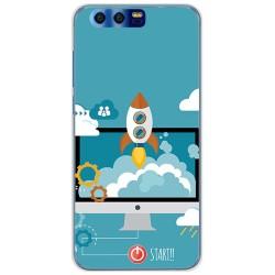 Funda Gel Tpu para Huawei Honor 9 Diseño Cohete Dibujos