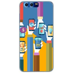 Funda Gel Tpu para Huawei Honor 9 Diseño Apps Dibujos