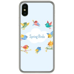 Funda Gel Tpu para Iphone X / XS Diseño Spring Birds Dibujos