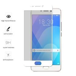 Protector Cristal Templado Frontal Completo Blanco para Meizu M6 Note Vidrio