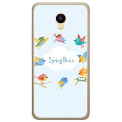 Funda Gel Tpu para Meizu M5C Diseño Spring Birds Dibujos