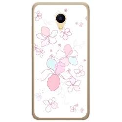 Funda Gel Tpu para Meizu M5C Diseño Flores Minimal Dibujos
