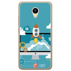 Funda Gel Tpu para Meizu M5C Diseño Cohete Dibujos