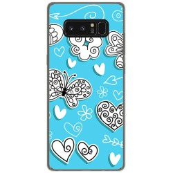 Funda Gel Tpu para Samsung Galaxy Note 8 Diseño Mariposas Dibujos