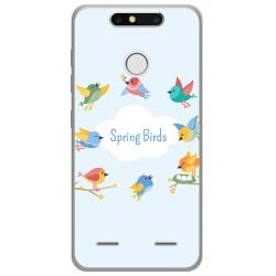 Funda Gel Tpu para Zte Blade V8 Mini Diseño Spring Birds Dibujos