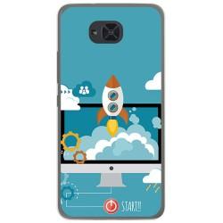Funda Gel Tpu para Bq Aquaris U2 / U2 Lite Diseño Cohete Dibujos