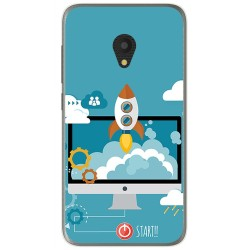 Funda Gel Tpu para Alcatel U5 (3G) Diseño Cohete Dibujos