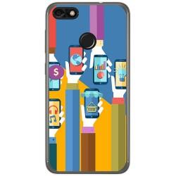 Funda Gel Tpu para Huawei Y6 Pro 2017 / P9 Lite Mini Diseño Apps Dibujos